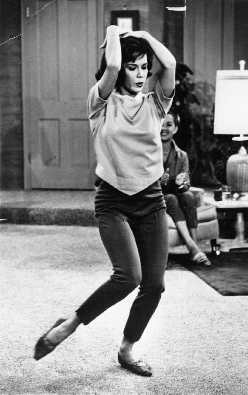 Mary Tyler Moore from The Dick Van Dyke Show (the '60s tv series) was the first ever to cause the Capri pants fashion sensation.